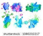 colorful abstract watercolor... | Shutterstock .eps vector #1080232217