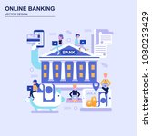 online banking flat design... | Shutterstock .eps vector #1080233429