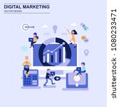 digital marketing flat design... | Shutterstock .eps vector #1080233471