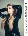 girl with long hair wears black ... | Shutterstock . vector #1080246119