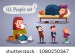 set of people having cold ... | Shutterstock .eps vector #1080250367
