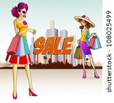 illustration of lady doing shopping in sale - stock vector