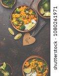 vegan sweet potato chickpea... | Shutterstock . vector #1080261971