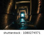 dark brick abandoned tunnel ... | Shutterstock . vector #1080274571