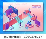 chatbot service isometric... | Shutterstock .eps vector #1080275717