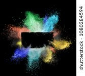launched colorful powder around ... | Shutterstock . vector #1080284594