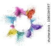 abstract multicolor powder... | Shutterstock . vector #1080284597