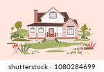 summer cottage or beautiful two ... | Shutterstock .eps vector #1080284699