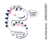 sweet dinosaur illustration... | Shutterstock .eps vector #1080285887