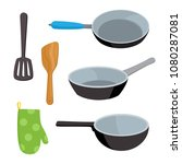 cartoon kitchen tools set... | Shutterstock .eps vector #1080287081