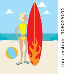 woman with surf board | Shutterstock .eps vector #108029015