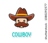 funny cowboy face with hat and... | Shutterstock .eps vector #1080292577