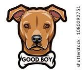 staffordshire terrier portrait. ... | Shutterstock .eps vector #1080292751