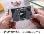 application update concept on... | Shutterstock . vector #1080302741