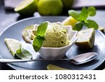 ice cream with kiwi and lime ... | Shutterstock . vector #1080312431