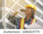 senior asian civil engineer... | Shutterstock . vector #1080319775