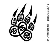 paw  wolf  vector  print  icon  ... | Shutterstock .eps vector #1080321641
