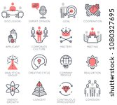vector set of flat linear icons ... | Shutterstock .eps vector #1080327695