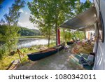 campground at the lake with... | Shutterstock . vector #1080342011