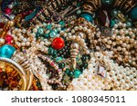 collection of vintage jewelry  | Shutterstock . vector #1080345011