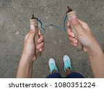 young woman with jumping rope | Shutterstock . vector #1080351224