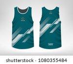 sleeveless sport t shirt design | Shutterstock .eps vector #1080355484