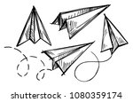 set of paper planes. hand drawn ...   Shutterstock .eps vector #1080359174