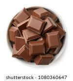 bowl of milk chocolate pieces... | Shutterstock . vector #1080360647