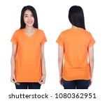 woman in orange t shirt... | Shutterstock . vector #1080362951