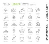 collection of camping thin line ...   Shutterstock .eps vector #1080364394