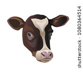 color sketch of a friesian cow... | Shutterstock .eps vector #1080364514