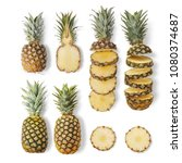 juicy ripe pineapples of... | Shutterstock . vector #1080374687