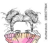 nice sketch of teenage girl...   Shutterstock .eps vector #1080377864