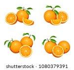 vector set of orange fruit... | Shutterstock .eps vector #1080379391