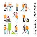 volunteers help people and... | Shutterstock .eps vector #1080380291