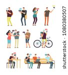 people using cellphone  mobile... | Shutterstock .eps vector #1080380507