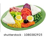 vegetarian plate with white... | Shutterstock . vector #1080382925