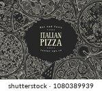vector italian pizza top view... | Shutterstock .eps vector #1080389939