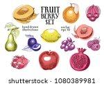 fruits hand drawn vector... | Shutterstock .eps vector #1080389981