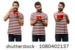 set of man with glasses holding ... | Shutterstock . vector #1080402137