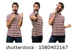 set of man with glasses singing ... | Shutterstock . vector #1080402167