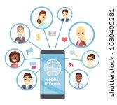 social network on smartphone.... | Shutterstock .eps vector #1080405281