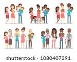 happy families set. parents... | Shutterstock .eps vector #1080407291