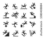 stick figure man falling beware ... | Shutterstock .eps vector #1080408884