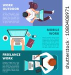 freelancer journalist working... | Shutterstock .eps vector #1080408971
