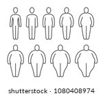 from thin to fat body people... | Shutterstock .eps vector #1080408974