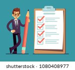 businessman holding pencil at... | Shutterstock .eps vector #1080408977