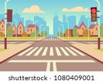 cartoon city crossroads with... | Shutterstock .eps vector #1080409001