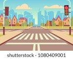 cartoon city crossroads with... | Shutterstock .eps vector #1080409001