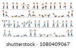 fitness exercises set. man and... | Shutterstock .eps vector #1080409067